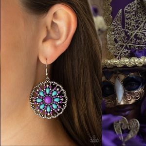 Mardi Gras Purple and Blue Earrings